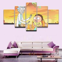 Canvas Wall Art Pictures HD Print Childrens Room Home Decor 5 Pieces Animated Comedy Rick and Morty Paintings Framework Poster