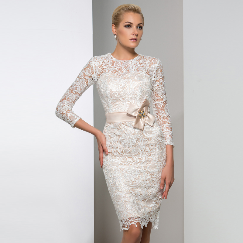 Buy modern knee length mother of the for 3 4 sleeve wedding guest dress