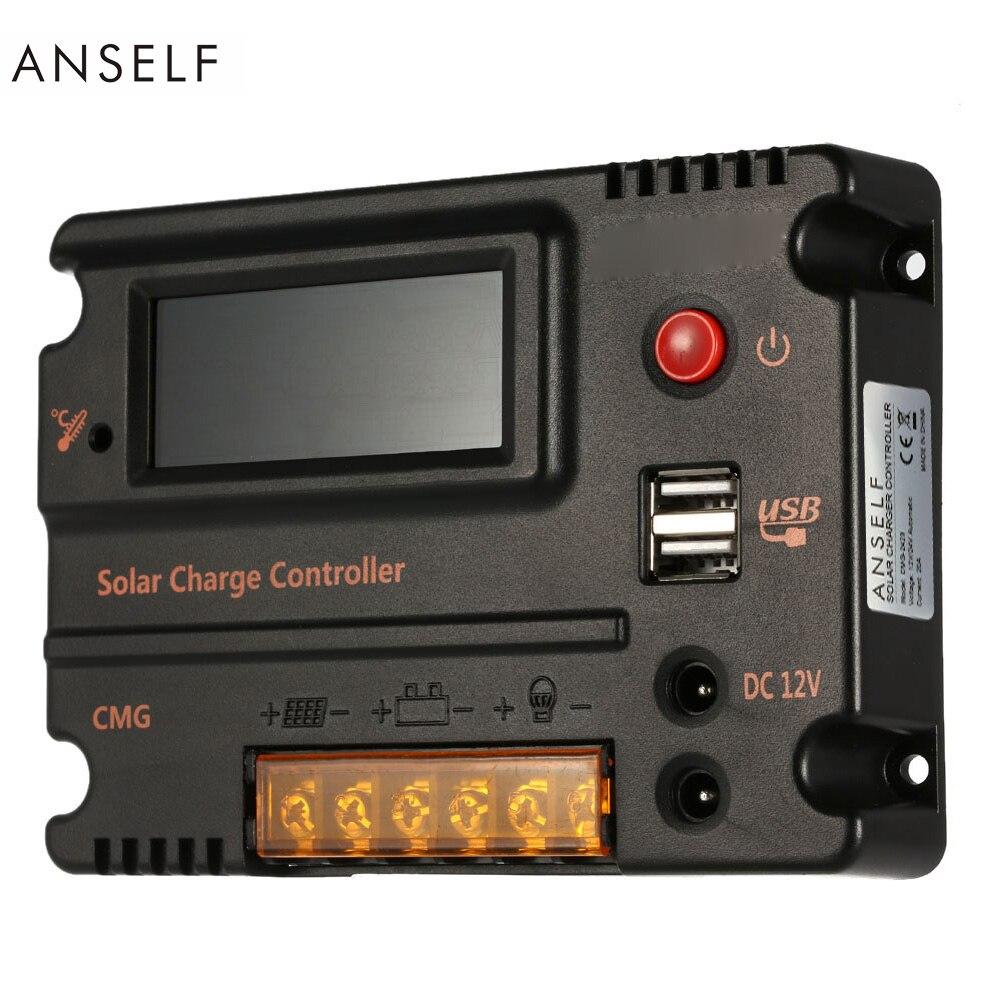 Anself 20A 12 В 24 В ЖК-дисплей Контроллер заряда Панель Батарея Регулятор автоматический переключатель защиты от перегрузки Температура компенс...