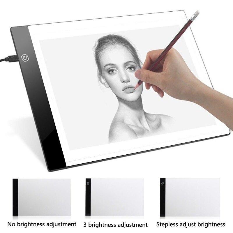 Tableta gráfica Digital A4 artista LED Plantilla de arte Delgado tablero de dibujo caja de luz de escritura portátil tableta electrónica Pad