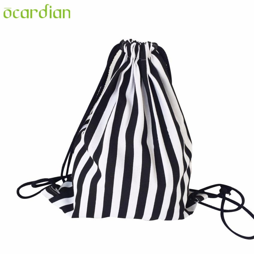 Women Stripe Drawstring Beam Port Backpack Shopping Bag Travel Bag Comfystyle san30 d new fashion thick heels woman shoes pointed toe shallow mouth ankle strap thick heels pumps velvet mary janes shoes