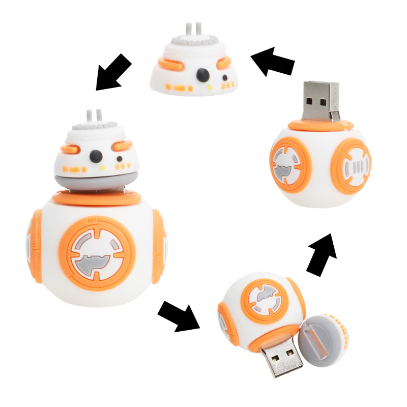 Crazy Hot Star Wars Cartoon Flash Memory Stick 32GB 64GB 128GB 8G 16GB USB Flash Drive 2.0 High Quality Pen Drive Robot Pendrive-in USB Flash Drives from Computer & Office