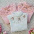 Nova Primavera Outono Meninas Camisola 100% Algodão Rendas Roupas Menina Assentamento Camisas Gola da Longo-luva Camisola Do Bebê Roupa Dos Miúdos