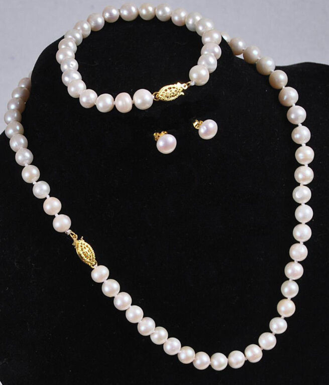 CHARMING SET OF 9-10MM SOUTH SEA ROUND WHITE PEARL NECKLACE BARCELET EARRING925silverCHARMING SET OF 9-10MM SOUTH SEA ROUND WHITE PEARL NECKLACE BARCELET EARRING925silver