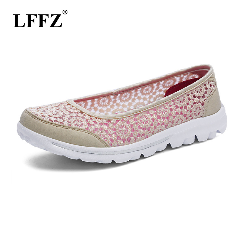 LFFZ 2018 New Spring <font><b>Women</b></font> Sneakers Soft and Plain Shoes For Woman Casual Sneakers Flat Heels Leisure lace mesh Footwear JH122 image