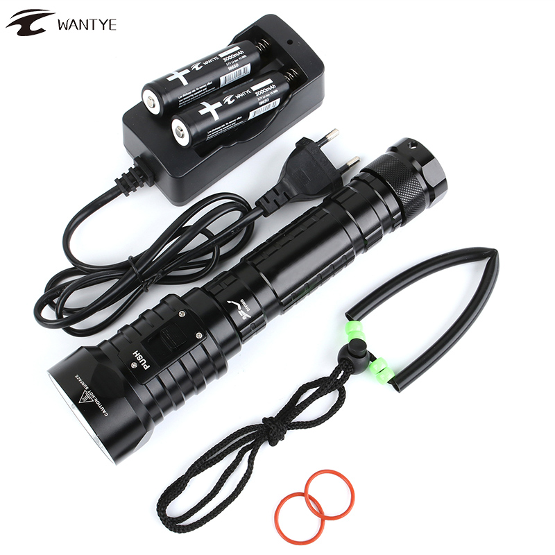 8000Lm LED Diving Flashlight Torch XML 4L2 U2 lamp Underwater Flashlight Dive Diver light 100m Waterproof Lantern 18650 26650 4 xml l2 led diving flashlight torch 18650 26650 lantern underwater professional dive torch waterproof diver lamp light