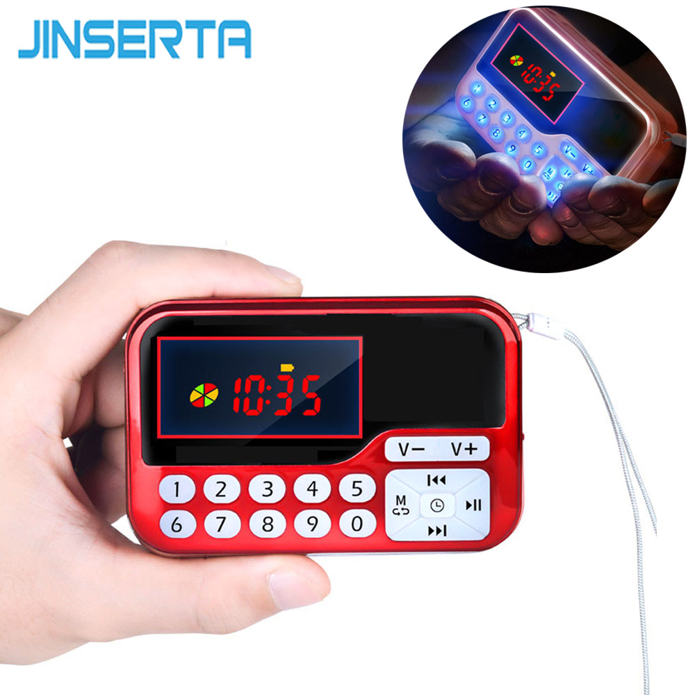 JINSERTA Portable Mini FM Radio Speaker Music Player TF Card USB For PC Phone with LED Display Multimedia MP3 Music Loudspeaker portable mini mp3 vibration speaker w fm usb tf remote controller black page 7