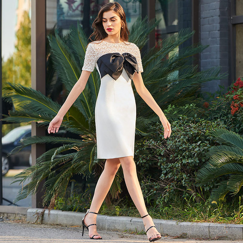 Tanpell Bowknot Lace Cocktail Dress Elegant Ivory Knee Length A Line Gown Women Short Sleeves Plus Custom Short Cocktail Dresses