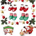 Unisex Babies Girls Fashion Christmas Cotton Shoes Baby Shoes Socks Toddler Shoes Red/Green (0-1)Years