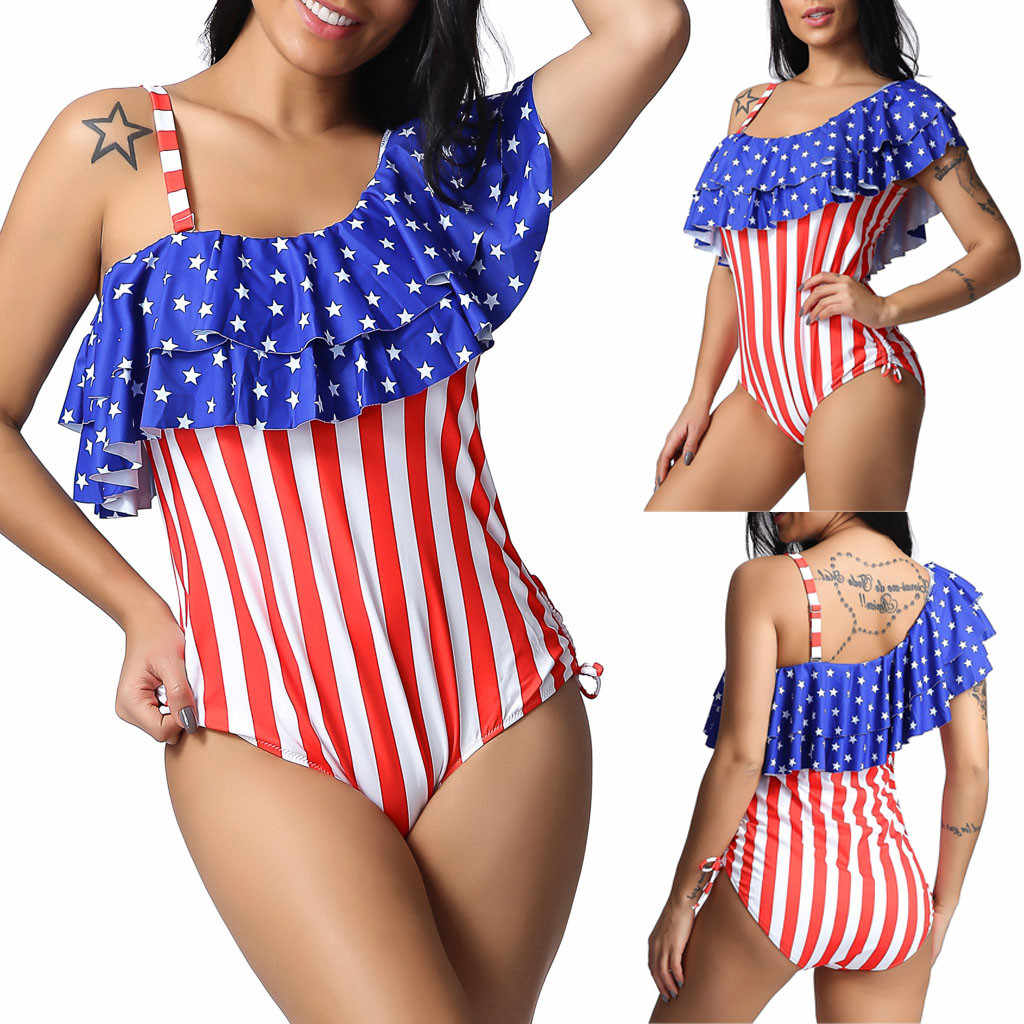 Women Plus Size American Flag One Piece Bikini Swimwear Beachwear Tankini Dress Monokini Swimsuit Bathing suit female Monokini