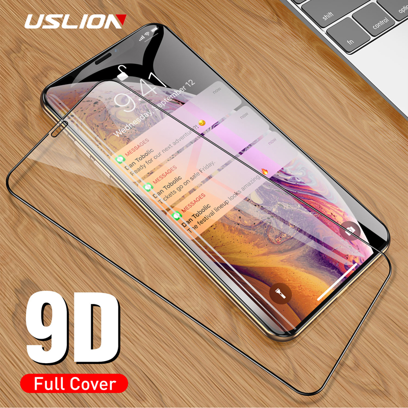 USLION 9D Protective Glass On For IPhone 7 8 6 6s Plus Screen Protector Full Coverage Tempered Glass For IPhone X XS XR XS Max