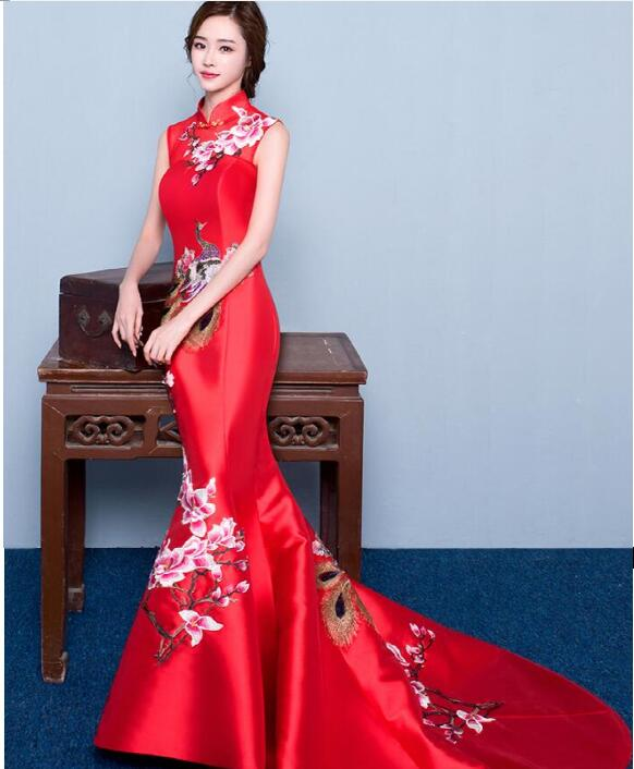 2018 High Quality Red mermaid wedding lace traditional dresses women cheongsam chinese style long qipao evening dress
