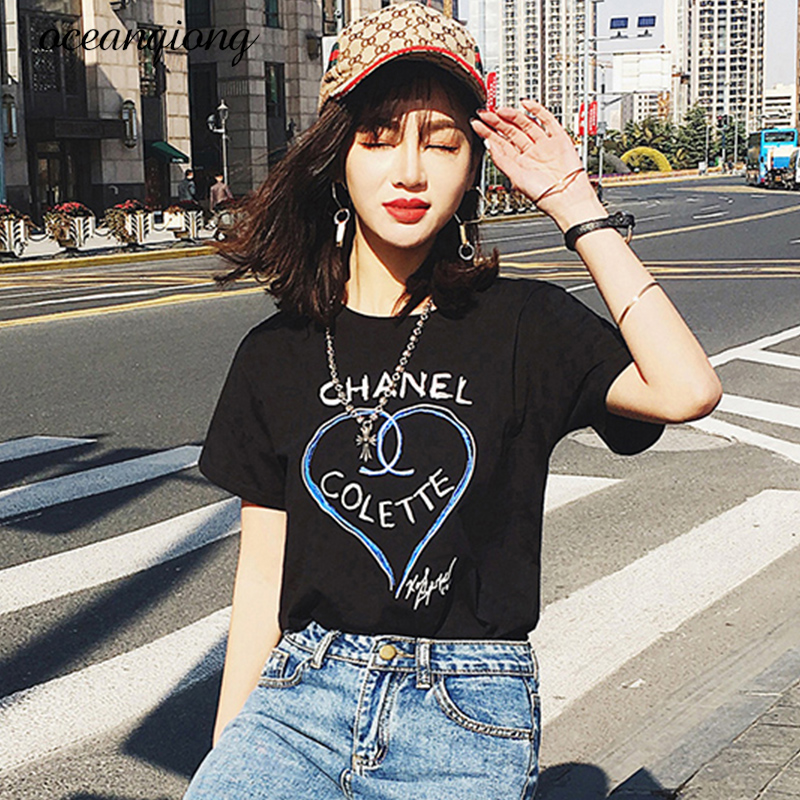 2018 Fashion Summer Cotton T Shirts Short Sleeve Tops Clothes Women Letters Printed T Shirt White Black Female T-shirt Camisas