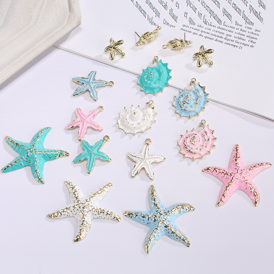 6pcs Big Colorful Metal Alloy Conch Starfish Pendants Charms For Diy Female Earrings Necklace Jewelry Crafts Making Accessories