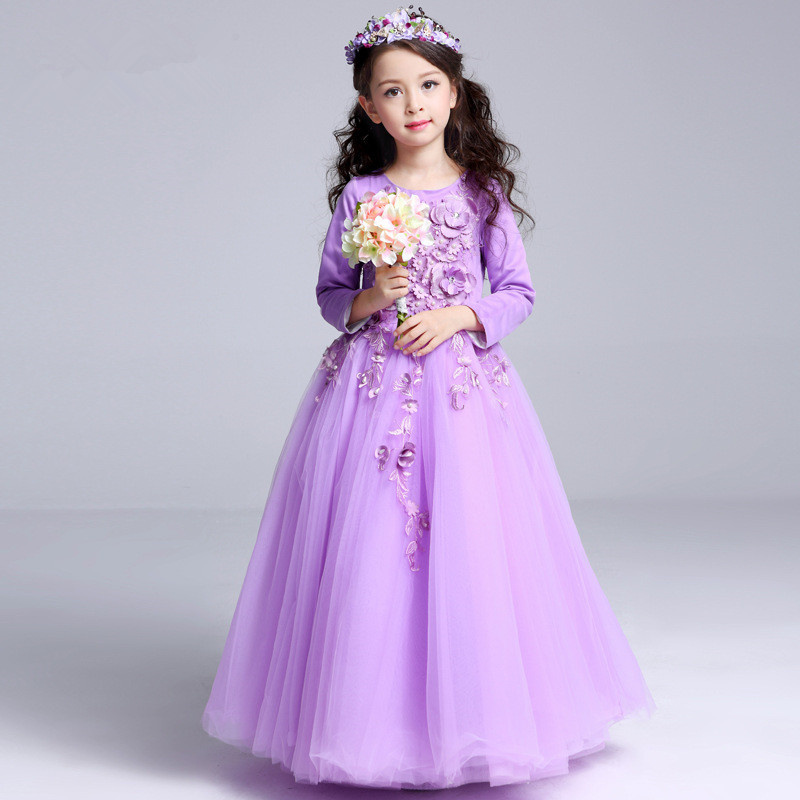 Purple Long Flower Girls Dress European Fancy Flower Girl Princess Costume 2019 Girls Clothes For 4 6 8 10 12 14 Years RKF175001Purple Long Flower Girls Dress European Fancy Flower Girl Princess Costume 2019 Girls Clothes For 4 6 8 10 12 14 Years RKF175001