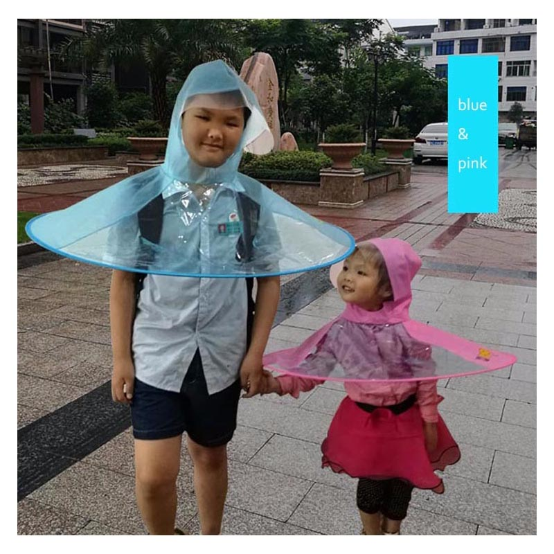 442af07e082 Portable Kids Raincoat Foldable UFO Rain Hat Kids Umbrella PEVA Material  Travel Fishing Sessile Cap With 3 Colors-in Raincoats from Home & Garden on  ...