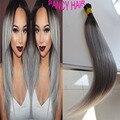 Gris Ombre 1B Remy Pre Bonded 1G Cada Hebras Humanos pelo 50g extensiones de cabello de fusión 100g Queratina Inclino Brasileño pelo