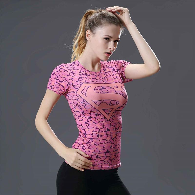 18  T Shirt Women Yoga Top Fitness Compression Shirt Women T-shirt 3D Print Pink Superman Sport Shirt Women Tshirt Tops