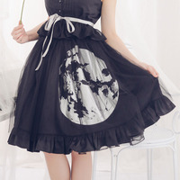 Gothic Harajuku Short Skirt Silver Moon Stamped Lolita Ruffle Skirts by Dolly Delly