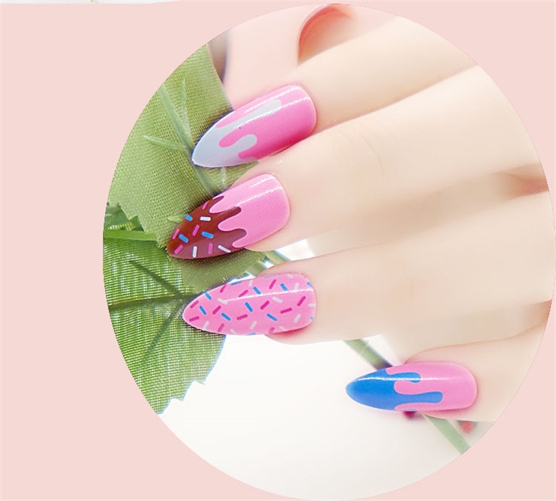 2016 Sweet Stiletto Nails Tips Long French12 Designs Full Cover ...