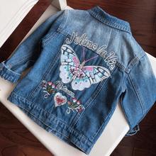 Baby Girls Denim Jackets Coats Fashion Butterfly Embroidery Denim Jacket Spring Fall Children Outwear Kids Denim Coat 3-8 Y недорого