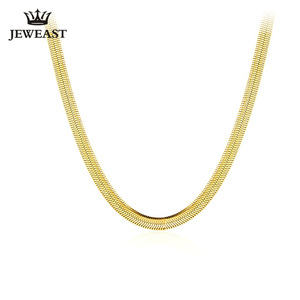 Image 1 - 14k Pure Gold Blade Necklace Flat Thin Mirror Snake Bone Wide Collarbone Chain Women And Men Gift Genuine Jewelry Hot Sale good