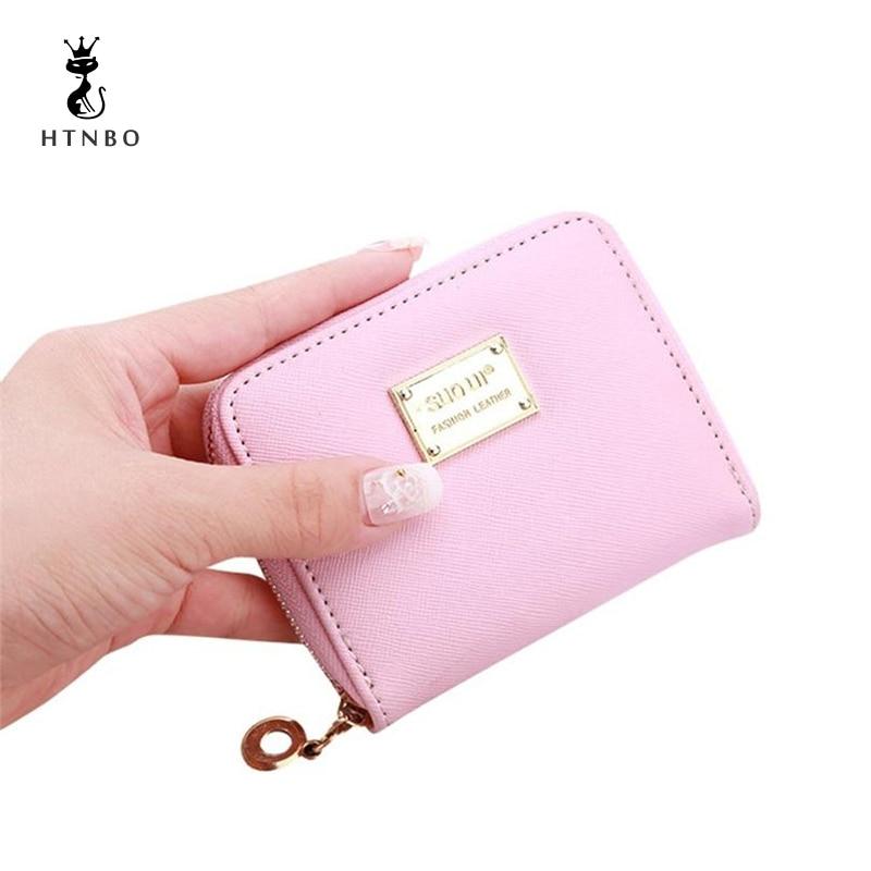 купить 2018 Women Leather Small Wallet Card Holder Zip Coin Purses Clutch Handbag Fashion Women Clutch Purses Carteira Feminina по цене 143.47 рублей