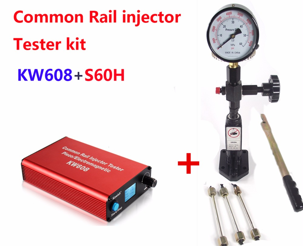 Common rail injector tester Kit KW608 multifunction diesel USB Injector tester + S60H Common Rail Injector Nozzle tester ortiz inyector nozzle tester s60h common rail injector tester original fuel injector tools for diesel injection