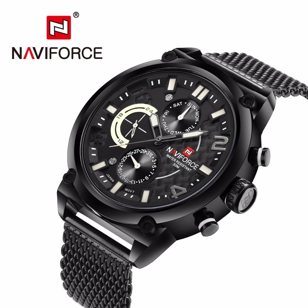 NAVIFORCE, Топ бренд, роскошные часы для мужчин, полностью из нержавеющей стали, кварцевые часы, водонепроницаемые, армейские, военные, спортивны... - 2