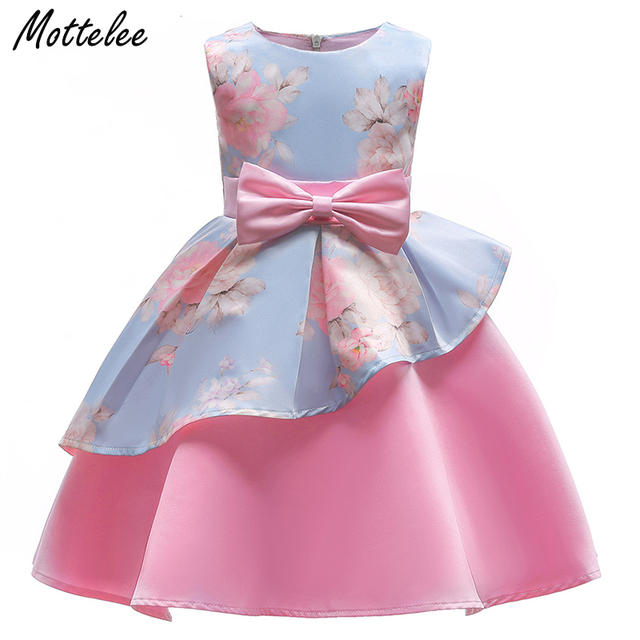 Mottelee Elegant Girls Dress Pink Blue Kids Flower Ball Gown Bow ...