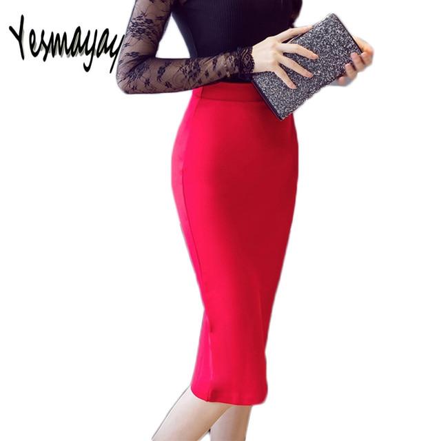 81b041c3825 Plus Size Party 5XL Elegant Maxi Skirt Jupe Women Black High Waist Stretchy  Long Office Pencil Skirt Saias 2018 Skirts Faldas