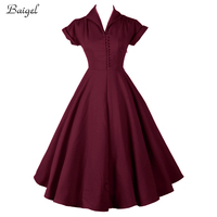 2015 Womens Classic 1950s 60s Celebrity Vintage Retro Style Rockabilly Pin Up Swing Summer Red Wedding