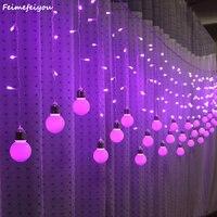 Feimefeiyou 2 Power Solar Icicle Curtain Styles Led Globe 96 216 Bulb Wedding Fairy String Fairy