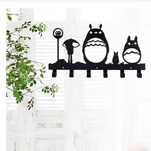 Totoro Creative Hook Door Key Wall Hanger Clothes Hook Locker Bedroom Metal Bolt Inserting Type Non-folding Rack Single