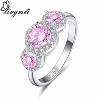 lingmei New Arrival Fashion Round Pink & Sea Blue White CZ Silver Color Ring Size 6 7 8 9 Beautiful Women Jewelry Weddiing Gift