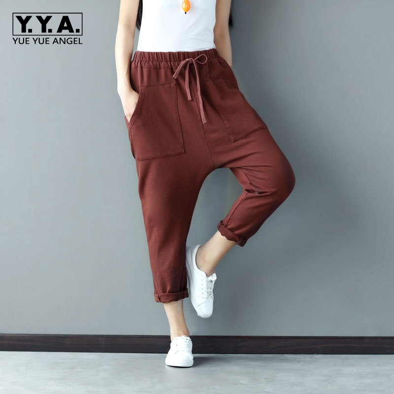Boyfriend Cotton Baggy Pants For Women New Spring Woman Loose Fit Harem Pants Femme Brown Cotton Pantolon Plus Size Free Ship