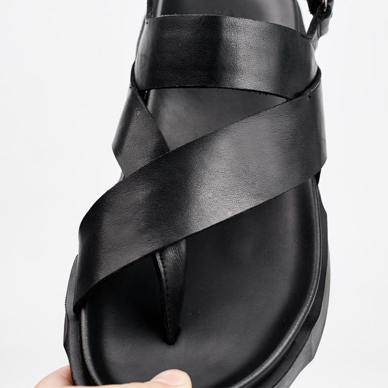 grosso Prova Opentoed permeável Lazer Ar Skid Roman Couro De Na Personalidade Mens Preto Britânico Sandálias sola Sapatos Verão À Moda wA6fB6aq