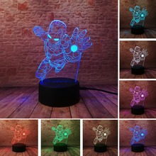 Novelty Superhero Ironman Action Figure 7 Colors Changing LED 3D Night Lamp lampada Child Kids Table Bedroom Bedside Light Gifts