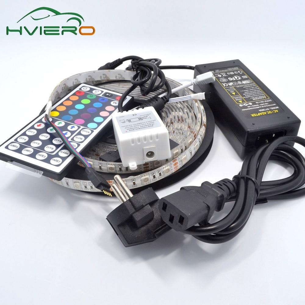 5M RGB LED Strip 5050 300Leds Vodotěsné flexibilní LED světlo DC 12V Dovolená osvětlení Stolní lampa IR dálkový ovladač Napájecí adaptér