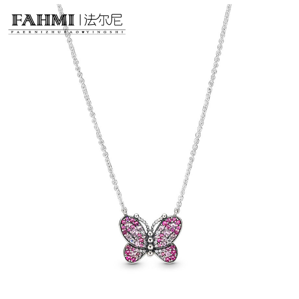 FAHMI 100% 925 Sterling Silver New 2019 Spring 397931NCCMX Dazzling Pink Butterfly Necklace Original Womens JewelryFAHMI 100% 925 Sterling Silver New 2019 Spring 397931NCCMX Dazzling Pink Butterfly Necklace Original Womens Jewelry