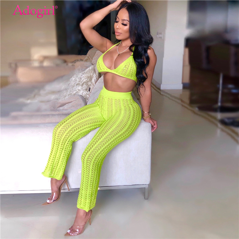 Adogirl <font><b>2019</b></font> <font><b>Summer</b></font> Fishnet Knitted Two Piece <font><b>Set</b></font> Women <font><b>Sexy</b></font> See Through Night Club Suits Bra Top Pants Casual Beach Outfits image