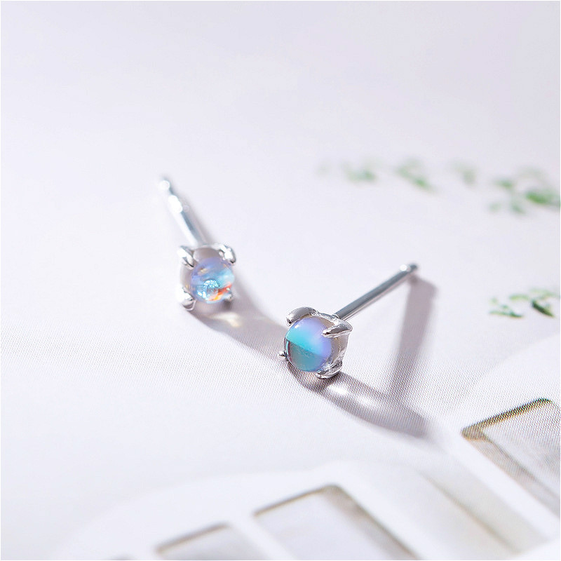 Fengxiaoling Stud-Earrings Jewelry Moonstone 925-Sterling-Silver Women Fashion Real Small