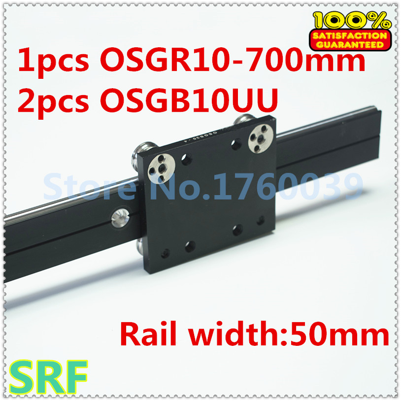 50mm width Aluminum roller linear guide rail external dual axis linear guide 1pcs OSGR10 L=700mm+2pcs OSGB10 block 50mm width aluminum roller linear guide rail external dual axis linear guide 1pcs osgr10 l 300mm 1pcs osgb10 block