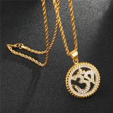 HIP Hop Stainless Steel Round Arabic Muslim Allah Pendants Necklaces Gold Bling Iced Out Islamic Necklace for Men Jewelry