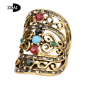 Charm Turkish Fashion Jewelry Inlay Crystal And Resin Big Ring Plated Ancient Gold Vintage Retro Rings For Women