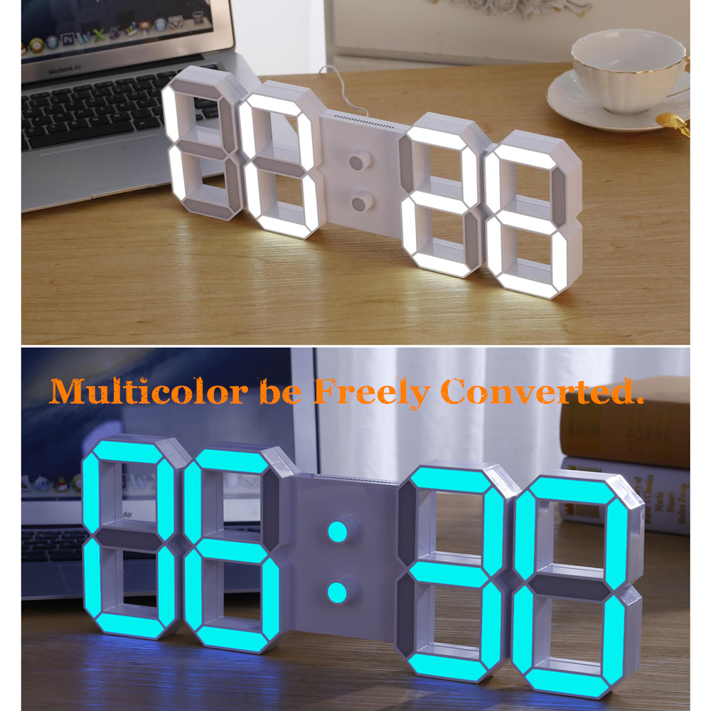 the lowest prices diy large remote 3d led digital wall clock modern design home decor big