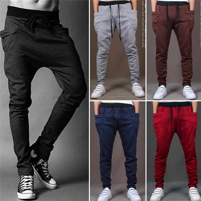 Mens Joggers New Style Fashion 2017 Skinny Joggers Sweatpants Drop Crotch  Casual Harem Pants Men Boys