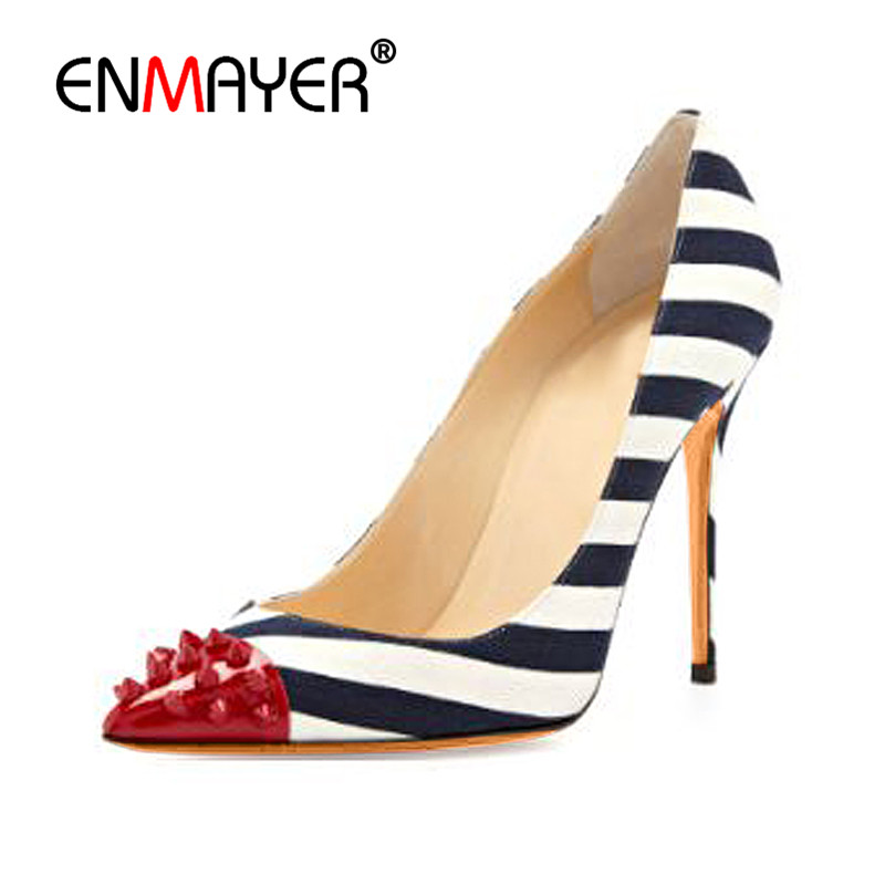 ENMAYER Sexy Rivets Charms Supper High Heels Shallow Pumps Shoes Woman Poined Toe Plus Size 35-46 Woman Shoes 2017 Summer Pumps enmayer pointed toe sexy black lace party wedding shoes woman high heels shallow pumps plus size 35 46 thin heels slip on pumps