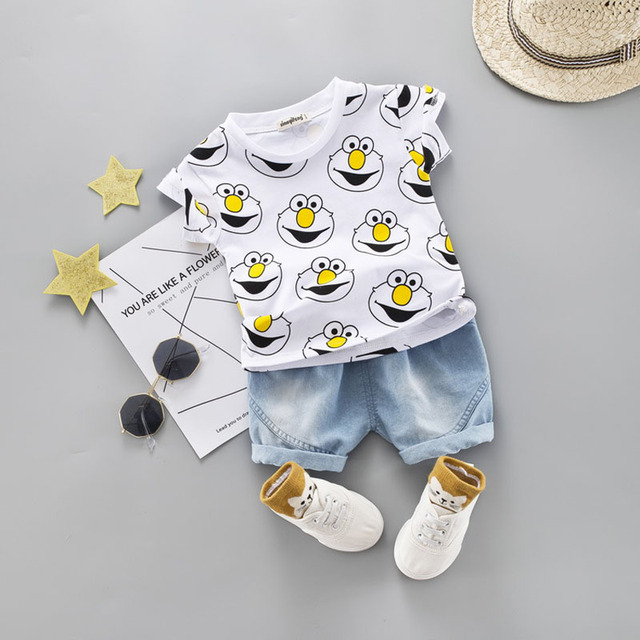 Baby Boy Clothing Set Cute Summer T-Shirt Cartoon Children Boys Clothes Shorts Suit for Kids Outfit Denim Outfit 3