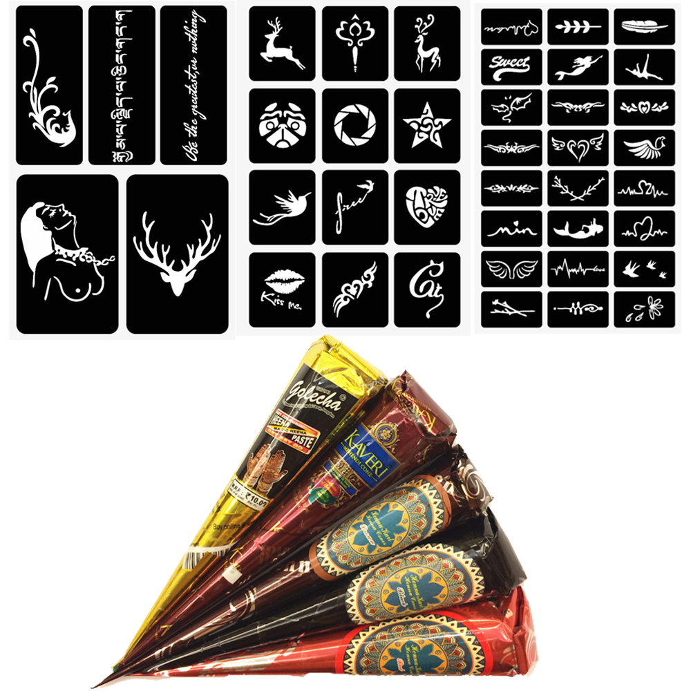 Henna Tattoo Paste Cost: 5pcs Henna Tattoo Natural Mehndi Henna Cones Indian Paste